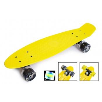 "Пенни борд Zippy Board penny 22"" Yellow - Желтый cо светящимися колесами"